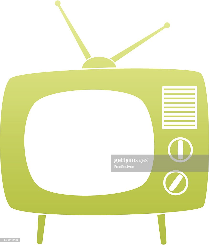 Lime green retro TV vector for graphic design