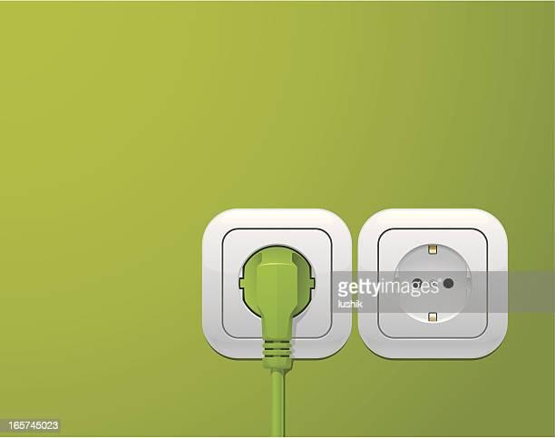 ilustrações, clipart, desenhos animados e ícones de tomadas de energia verde - plugue