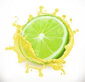 Lime juice. Fresh fruit, 3d vector icon