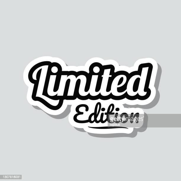 限定版。灰色の背景にアイコンステッカー - 限定版点のイラスト素材/クリップアート素材/マンガ素材/アイコン素材