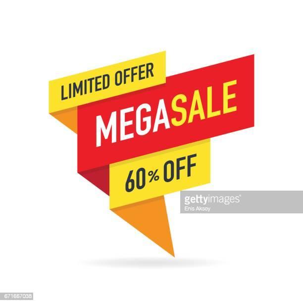 ilustrações, clipart, desenhos animados e ícones de limited offer mega sale banner - liquidação evento comercial