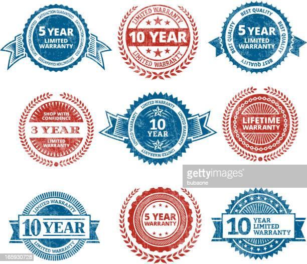 ilustrações, clipart, desenhos animados e ícones de garantia limitada selo de qualidade sem royalties vector conjunto de ícones - great seal