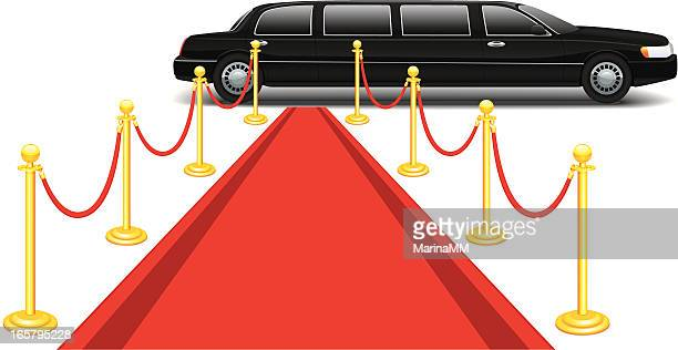 Limusina y alfombra roja