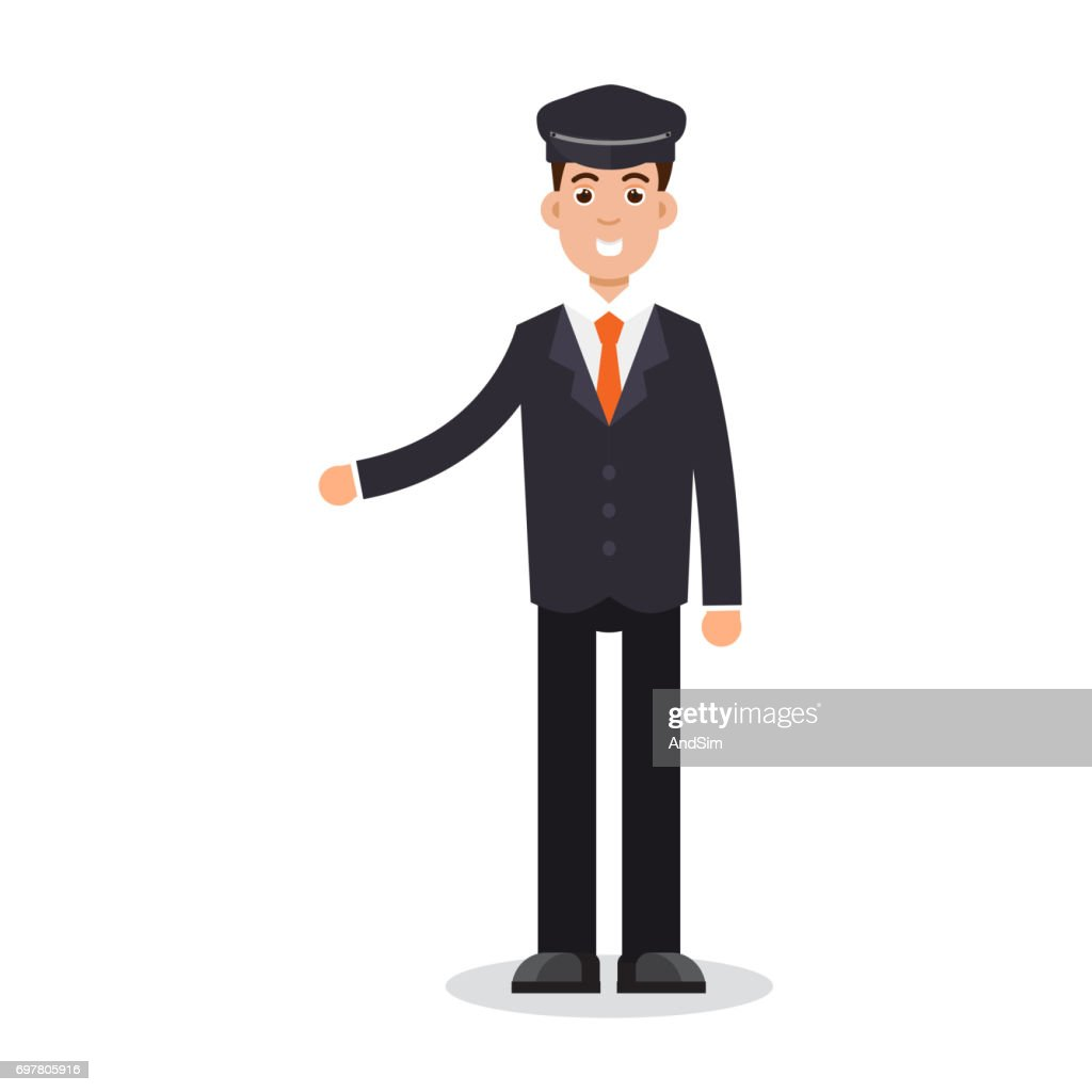 Limo driver character. Vector illustration.