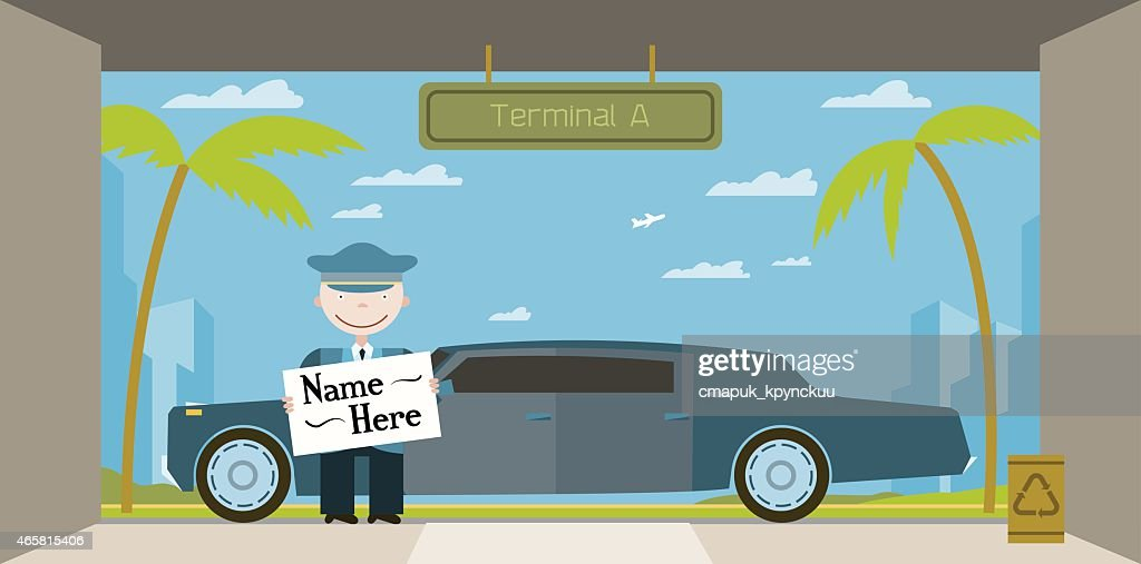 Limo driver greets guests at the airport