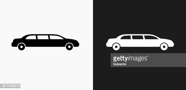 Limo Icon on Black and White Vector Backgrounds