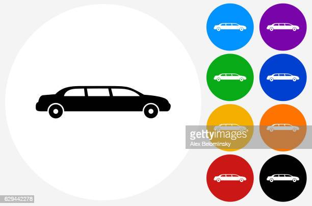 Limo Icon on Flat Color Circle Buttons
