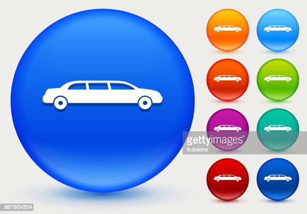 Limo Icon on Shiny Color Circle Buttons