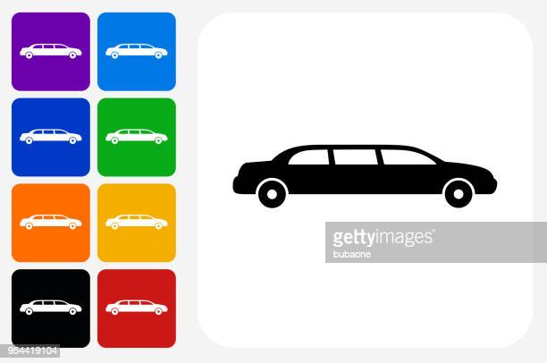 limo icon square button set - limousine stock illustrations