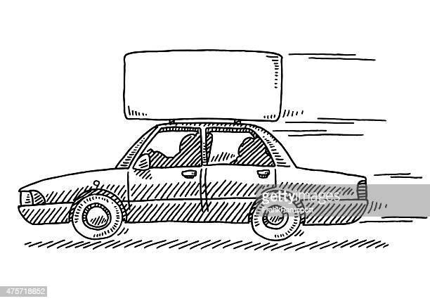 ilustrações, clipart, desenhos animados e ícones de limusine publicidade entrar no teto de desenho - clip art