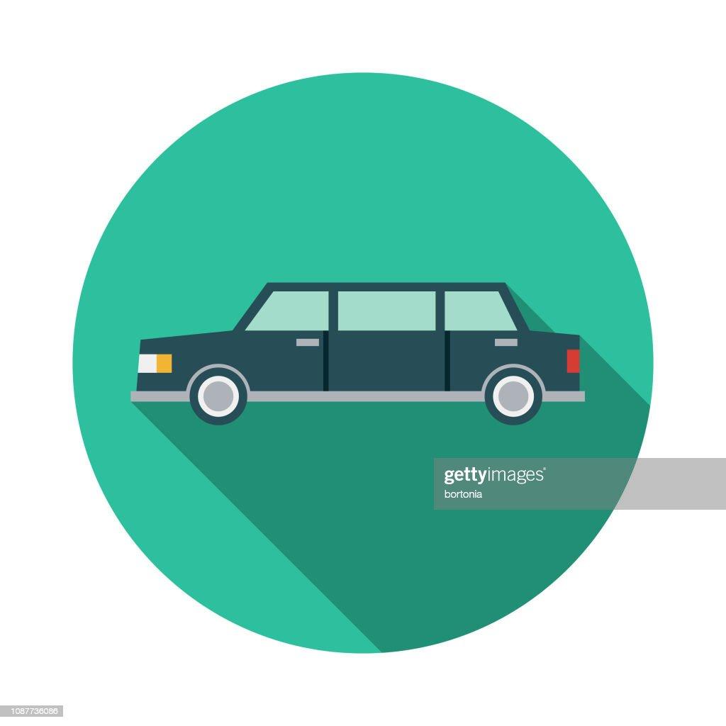 Limousine Flat Design Prom Icon : stock illustration