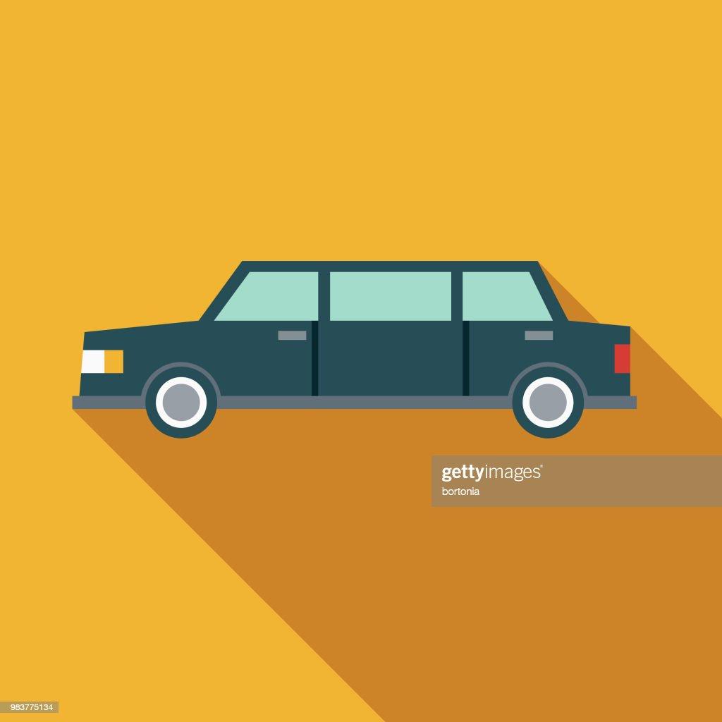 Limousine Flat Design Transportation Icon : stock illustration