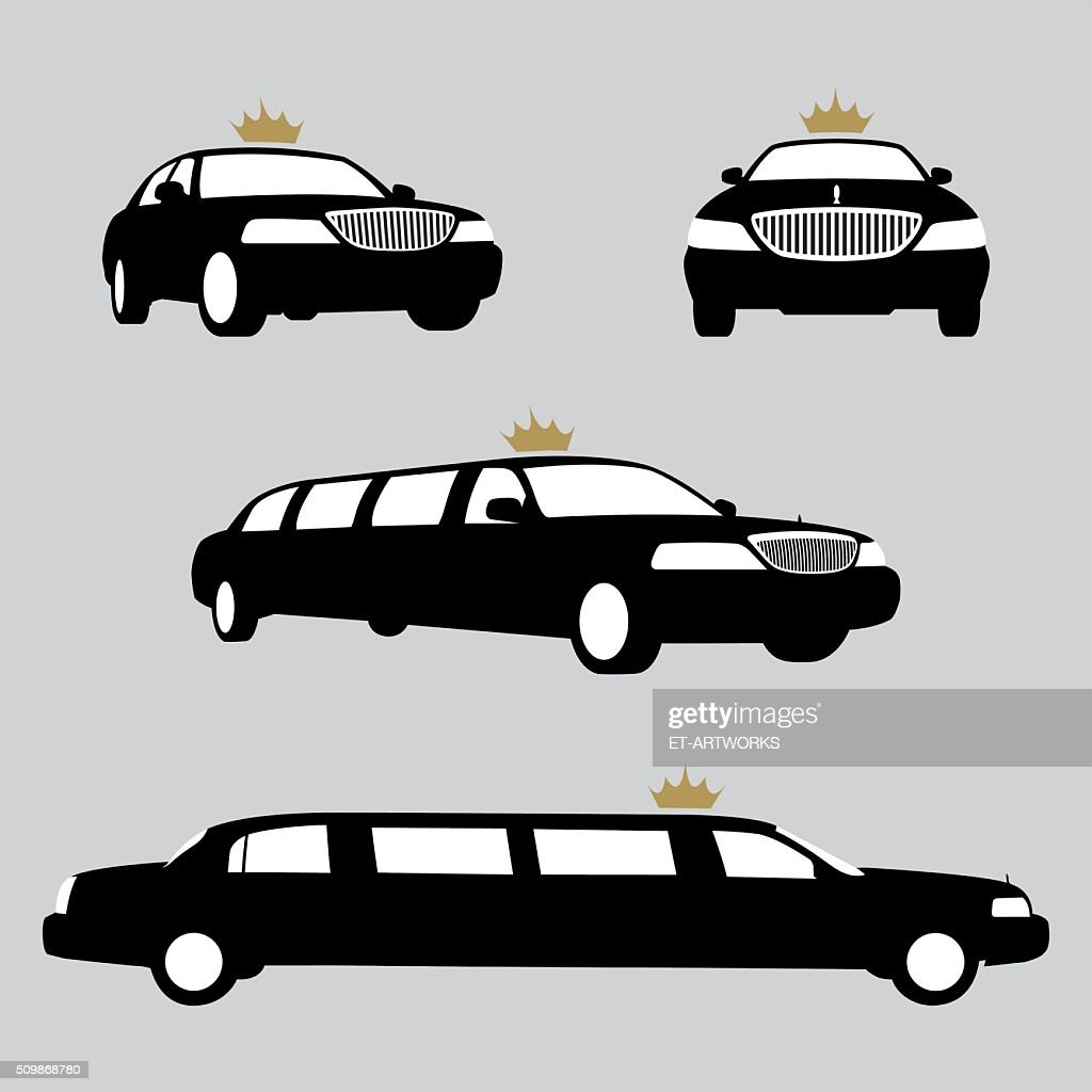 Limousines silhouettes collection. Vector