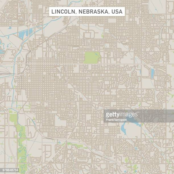 lincoln nebraska us city street map - lincoln nebraska stock illustrations