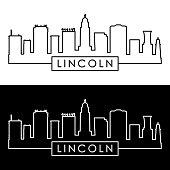 Lincoln skyline. Linear style. Editable vector file.