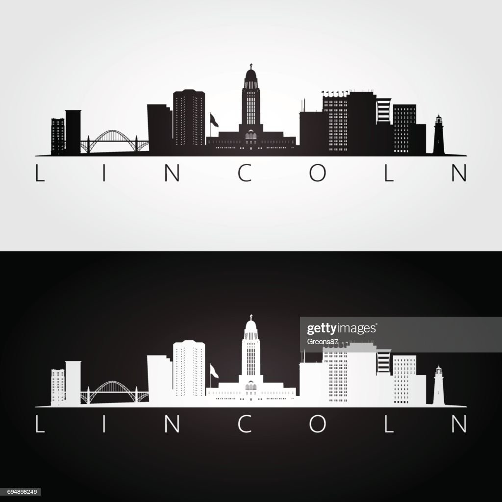 Lincoln USA skyline and landmarks silhouette, black and white design, vector illustration.