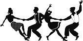 Lindy hop competition silhouette
