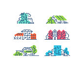 Line and color house, buildings' concepts. Urban cityscapes