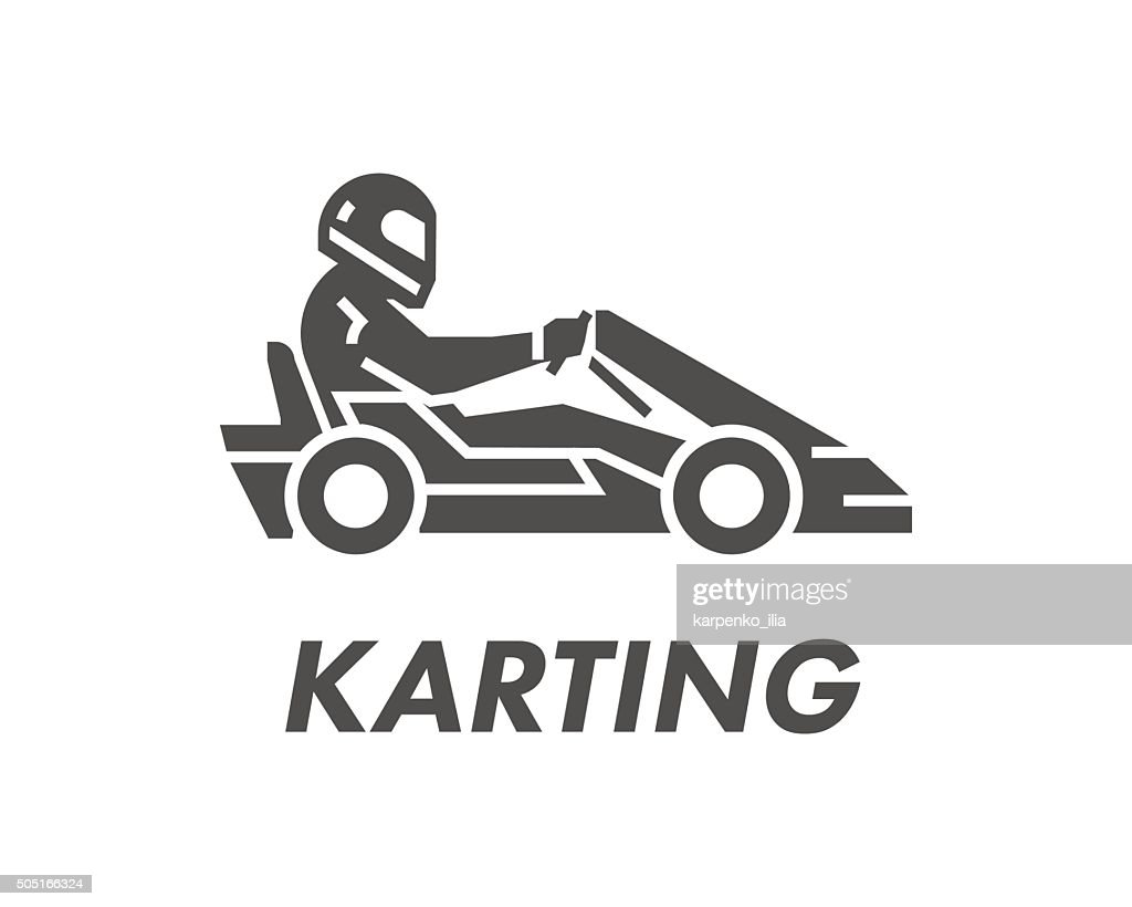 Line and flat karting logo and symbol.