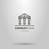 line art antique building logo