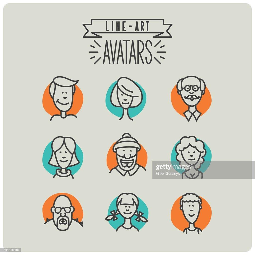 Line art avatar icons set