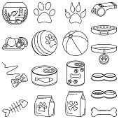 Line art black and white 18 pet shop elements