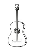 Line art black and white acoustic guitar