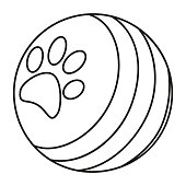 Line art black and white ball with paw print