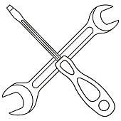 Line art black and white screwdriver wrench cross
