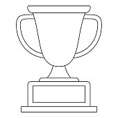 Line art black and white winner cup icon.