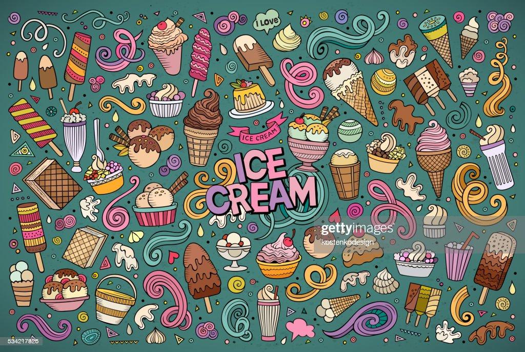 Line art cartoon set of ice-cream objects