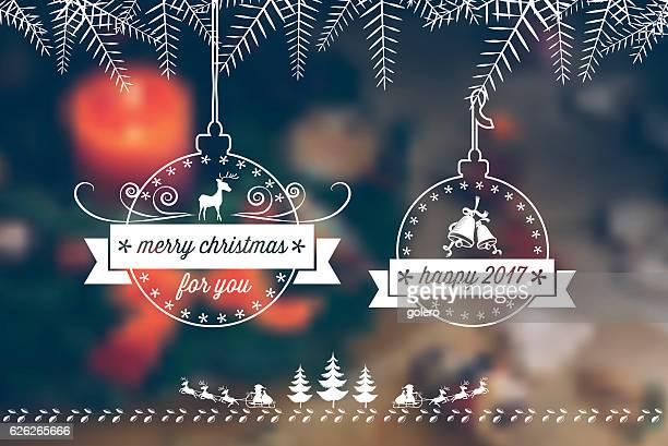 line art christmas ball badges on blurred green background