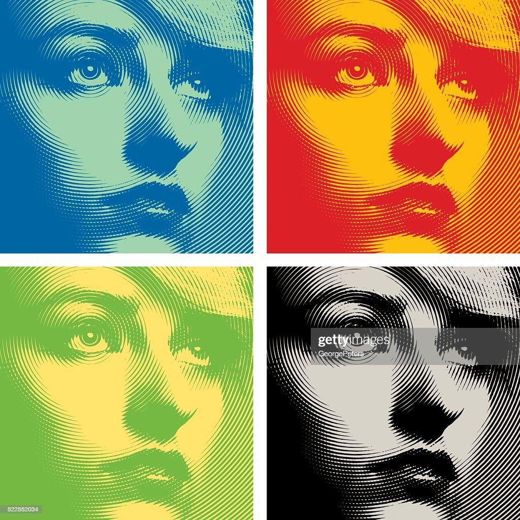 Line art Close up of a woman's face. Colorful set.