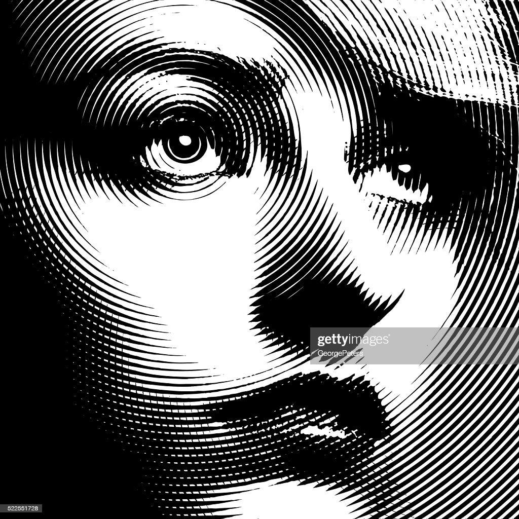 Linie Kunst Nahaufnahme einer Frau Gesicht : Stock-Illustration