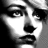 Line art Close up of a woman's face