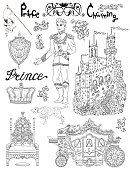 Line art doodle set with prince accessories and royal concept