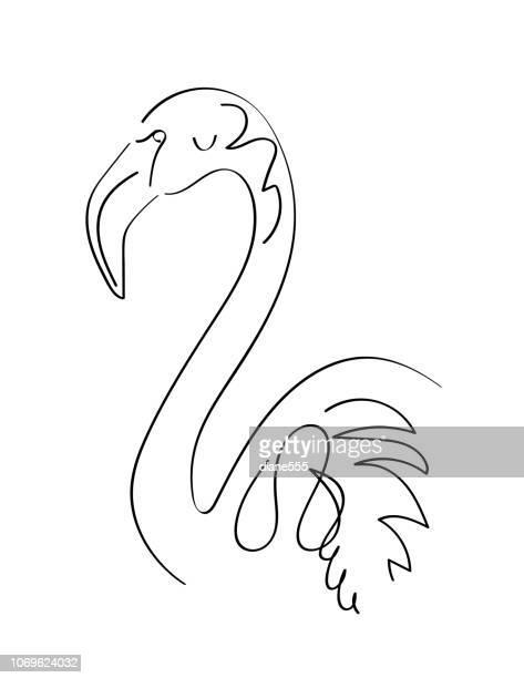 line art drawing of a flamingo - flamingo stock illustrations, clip art, cartoons, & icons