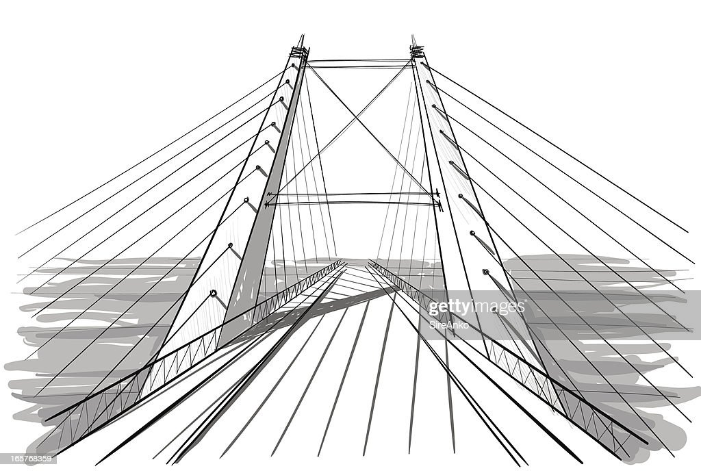 A line art drawing of architecture for a bridge