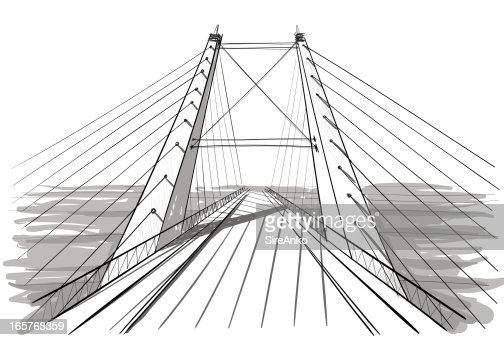 Line Art Architecture : A line art drawing of architecture for bridge vector