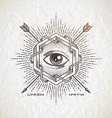 Line art emblem with impossible shape and secret symbols
