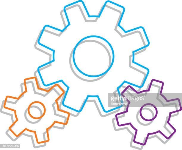 ライン アートは、シャドウと歯車します。 - 組み合わさる点のイラスト素材/クリップアート素材/マンガ素材/アイコン素材