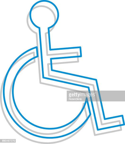 line art handicapped icon - disabled access stock illustrations, clip art, cartoons, & icons