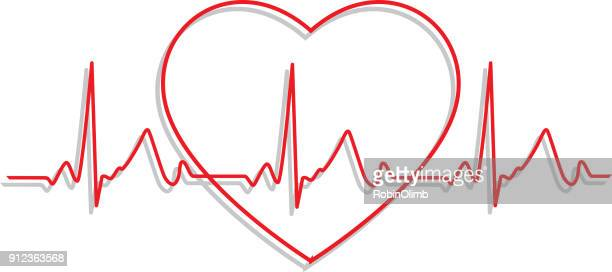 line art heartbeat monitor icon - listening to heartbeat stock illustrations, clip art, cartoons, & icons