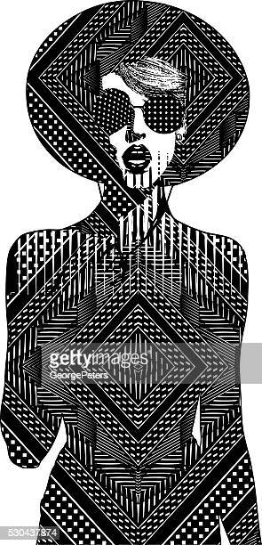 Line Art Illustration of one young woman and mirrored Pattern