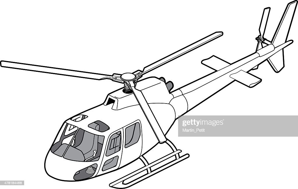 Line Art Isometric AS350 helicopter left view