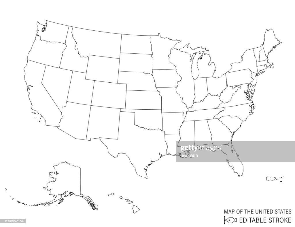 Line Art Kaart van de Verenigde Staten : Stockillustraties