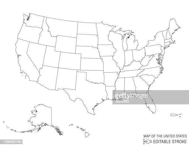 line art map of the united states - usa stock-grafiken, -clipart, -cartoons und -symbole
