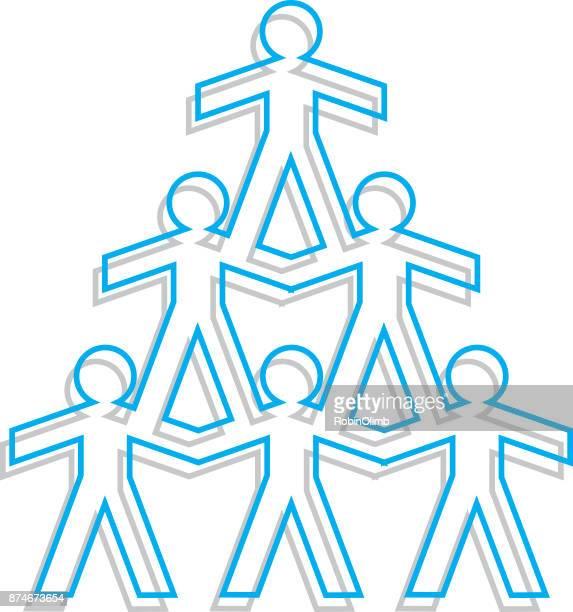 illustrazioni stock, clip art, cartoni animati e icone di tendenza di line art paper doll pyramid. - reggere