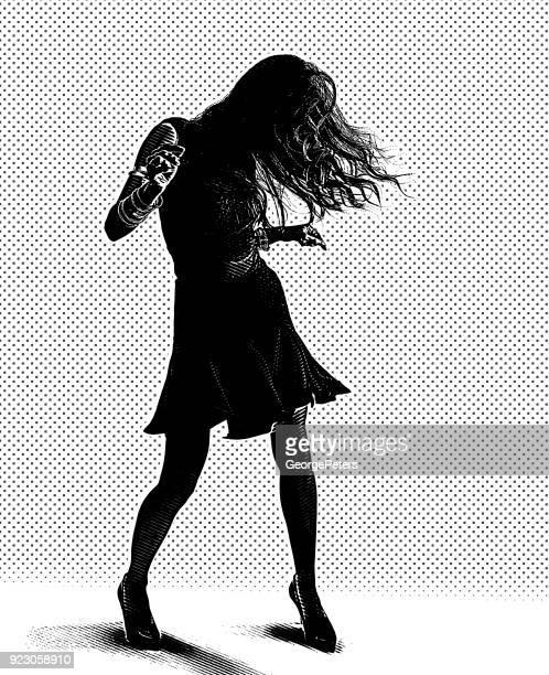 ilustraciones, imágenes clip art, dibujos animados e iconos de stock de línea arte retrato de un hispano mujer latina bailando - mujeres de mediana edad