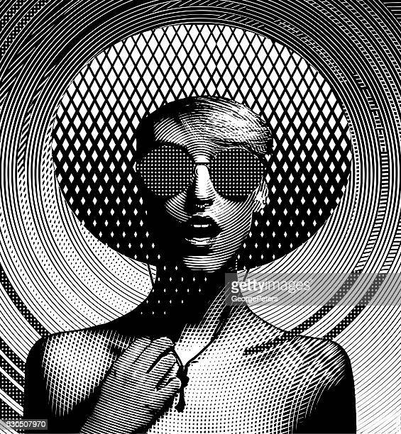 Line Art Portrait of one young woman and Halftone Pattern